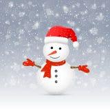 Pupazzo di neve con il cappello di Santa Immagine Stock Libera da Diritti