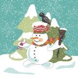 Pupazzo di neve con il corvo Fotografia Stock