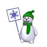 Pupazzo di neve con il fiocco di neve 3d Fotografia Stock Libera da Diritti