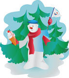 Pupazzo di neve con il gelato Immagine di vettore Immagine Stock