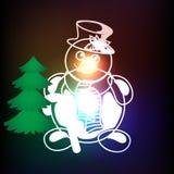 Pupazzo di neve con il Natale fondo ed il vettore della cartolina d'auguri Illustrazione Vettoriale