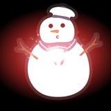 Pupazzo di neve con il Natale fondo ed il vettore della cartolina d'auguri Illustrazione di Stock