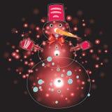 Pupazzo di neve con il Natale fondo ed il vettore della cartolina d'auguri Royalty Illustrazione gratis