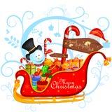 Pupazzo di neve con il regalo nel fondo di inverno per la celebrazione di festa di Buon Natale illustrazione di stock