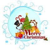 Pupazzo di neve con il regalo nel fondo di inverno per la celebrazione di festa di Buon Natale illustrazione vettoriale