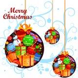 Pupazzo di neve con il regalo nel fondo di inverno per la celebrazione di festa di Buon Natale royalty illustrazione gratis