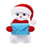 Pupazzo di neve con il regalo nella rappresentazione delle mani 3d illustrazione di stock