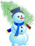 Pupazzo di neve con l'albero di abete Fotografia Stock Libera da Diritti