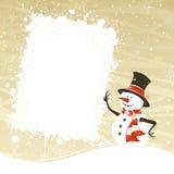 Pupazzo di neve con l'insegna bianca Fotografia Stock Libera da Diritti