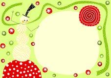 Pupazzo di neve con la cartolina di Natale della sciarpa Fotografie Stock Libere da Diritti