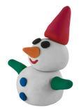 Pupazzo di neve con la mano ed il cappello su bianco Fotografia Stock