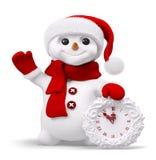 Pupazzo di neve con la rappresentazione dell'orologio 3d illustrazione di stock