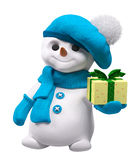 Pupazzo di neve con la rappresentazione disponibila 3d del regalo del nuovo anno Fotografia Stock Libera da Diritti