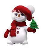 Pupazzo di neve con la rappresentazione disponibila 3d dell'albero del nuovo anno Fotografie Stock Libere da Diritti