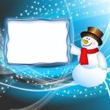 Pupazzo di neve con la scheda Immagine Stock Libera da Diritti