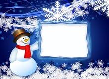 Pupazzo di neve con la scheda Fotografia Stock