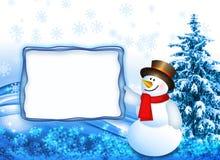 Pupazzo di neve con la scheda Fotografie Stock