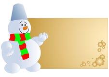 Pupazzo di neve con la scheda in bianco Fotografia Stock