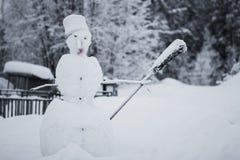 Pupazzo di neve con la scopa Fotografia Stock Libera da Diritti
