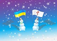 Pupazzo di neve con le bandiere sulla riunione in Ucraina Fotografie Stock Libere da Diritti