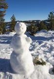 Pupazzo di neve con le montagne nel fondo immagini stock
