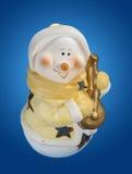 Pupazzo di neve con liuto Immagini Stock Libere da Diritti