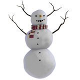pupazzo di neve 3D con i bastoni per i corni Fotografia Stock