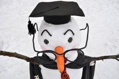 Pupazzo di neve dagli occhiali nello stile dello studente Fotografia Stock