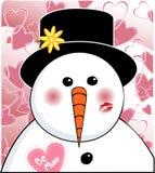 Pupazzo di neve del biglietto di S. Valentino Fotografie Stock Libere da Diritti