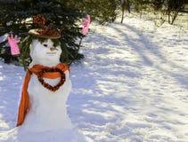 Pupazzo di neve del biglietto di S. Valentino con cuore Immagini Stock