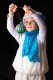 Pupazzo di neve del costume di Natale del ragazzo Immagine Stock