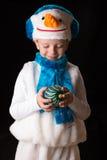 Pupazzo di neve del costume di Natale del ragazzo Fotografia Stock Libera da Diritti