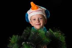 Pupazzo di neve del costume di Natale del ragazzo Fotografie Stock Libere da Diritti