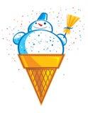 Pupazzo di neve del gelato Fotografia Stock Libera da Diritti