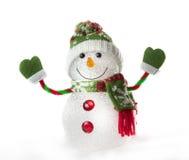 Pupazzo di neve del giocattolo su fondo bianco Fotografia Stock Libera da Diritti