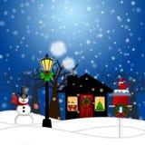 Pupazzo di neve dell'alberino della lampada della Camera e natale del Birdhouse Fotografia Stock Libera da Diritti