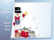 Pupazzo di neve della cartolina di Natale con la stella Immagini Stock