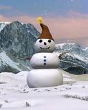Pupazzo di neve della montagna Fotografia Stock Libera da Diritti