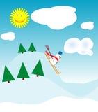 Pupazzo di neve di corsa con gli sci illustrazione vettoriale