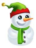 Pupazzo di neve di natale in cappello dell'elfo Fotografie Stock Libere da Diritti