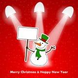 Pupazzo di neve di Natale con le luci Immagine Stock Libera da Diritti