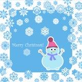 Pupazzo di neve di Natale con i fiocchi di neve decorativi Immagine Stock Libera da Diritti