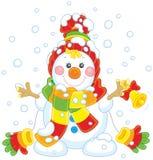 Pupazzo di neve di Natale con una campana Fotografie Stock