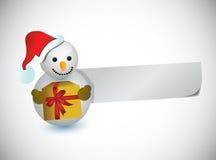 Pupazzo di neve di Natale e una carta in bianco per i messaggi Fotografie Stock