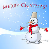 Pupazzo di neve di Natale. Illustrazione di vettore. Immagini Stock