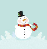 Pupazzo di neve di natale su priorità bassa dentellare Fotografia Stock