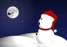 Pupazzo di neve di notte di Natale Immagine Stock Libera da Diritti