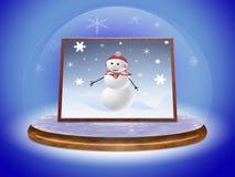 Pupazzo di neve di scena in sfera di vetro Fotografia Stock