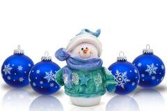 Pupazzo di neve di tempo di Natale Fotografie Stock Libere da Diritti
