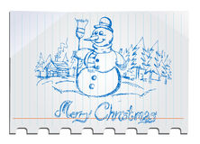 Pupazzo di neve disegnato a mano Fotografia Stock Libera da Diritti